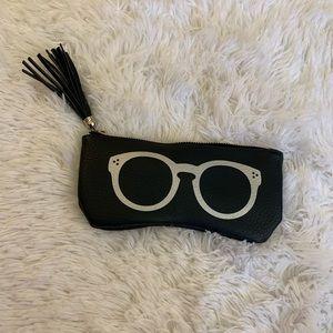 Navy Blue Silver Glasses Tassle Makeup Bag